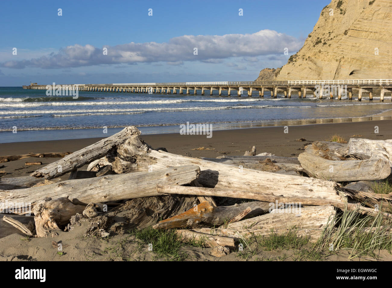 Historic pier in Tolaga Bay in New Zealand - Stock Image