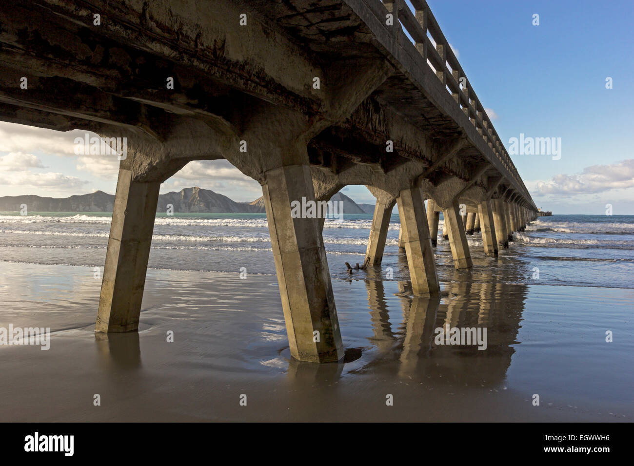 Pier in Tolaga Bay in New Zealand - Stock Image