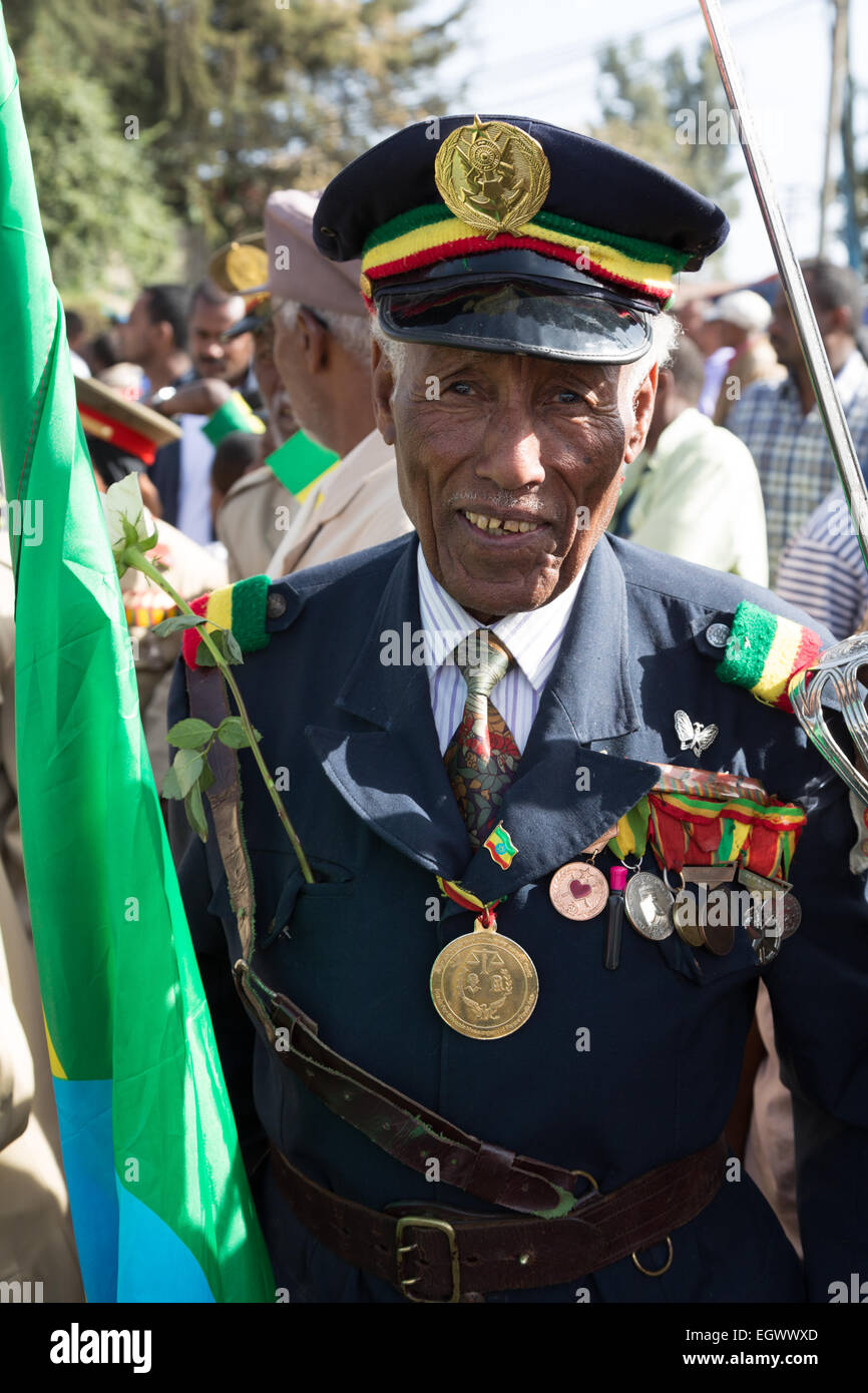Addis Ababa, Ethiopia. 2nd March, 2015. A decorated war veteran attends the celebrations of the 119th Anniversary - Stock Image