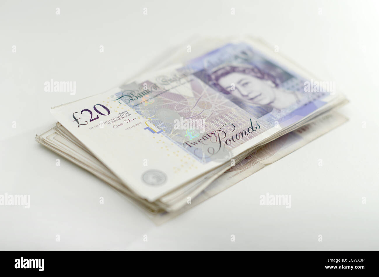 1000 In 20 Notes A Stack Of 50 Twenty Pound Making Grand Cash