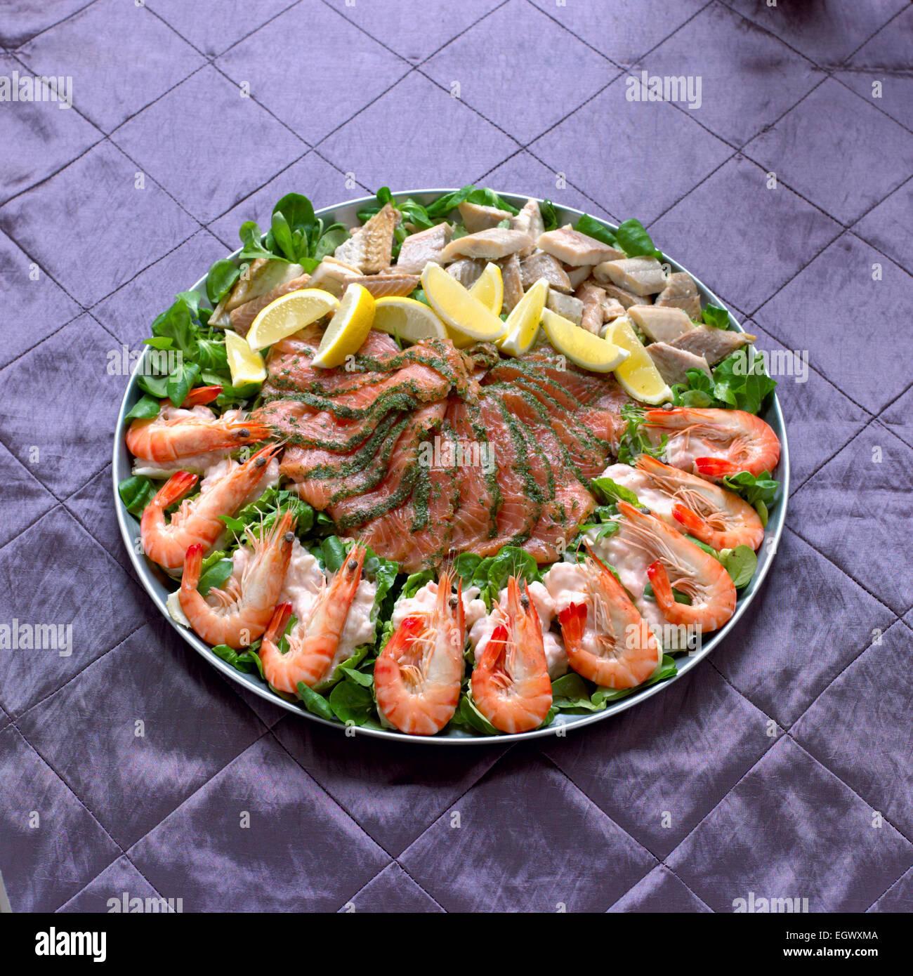 Fish And Seafood Platter Including Gravadlax Salmon Prawn Stock Photo Alamy