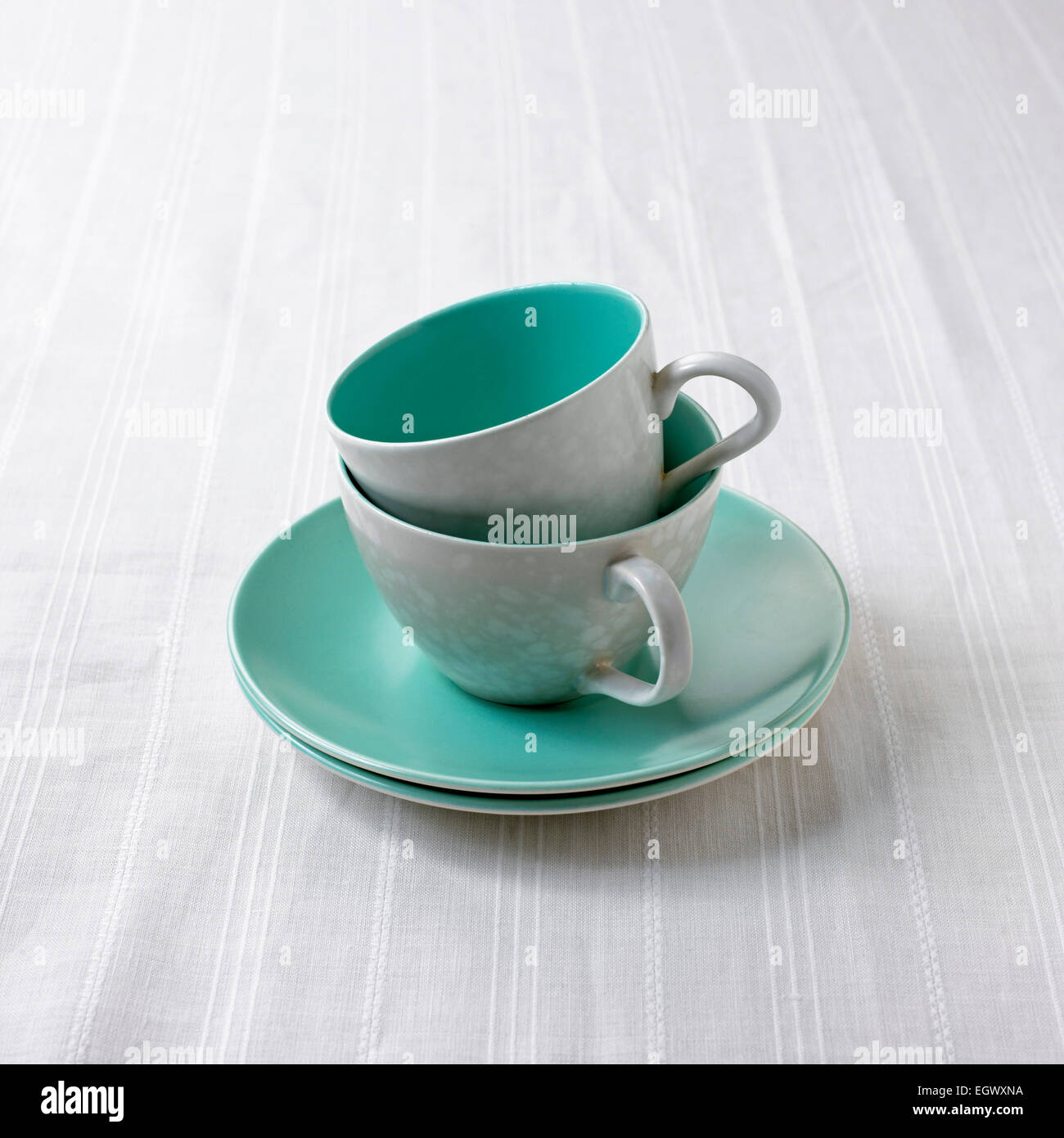 Tea cups and saucers - Stock Image