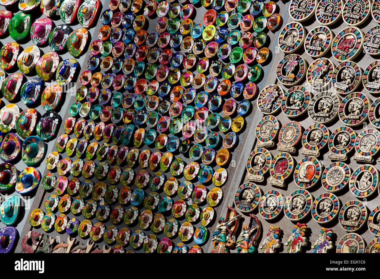 souvenir miniature sombreros Chichen Itza, Yucatan, Mexico - Stock Image
