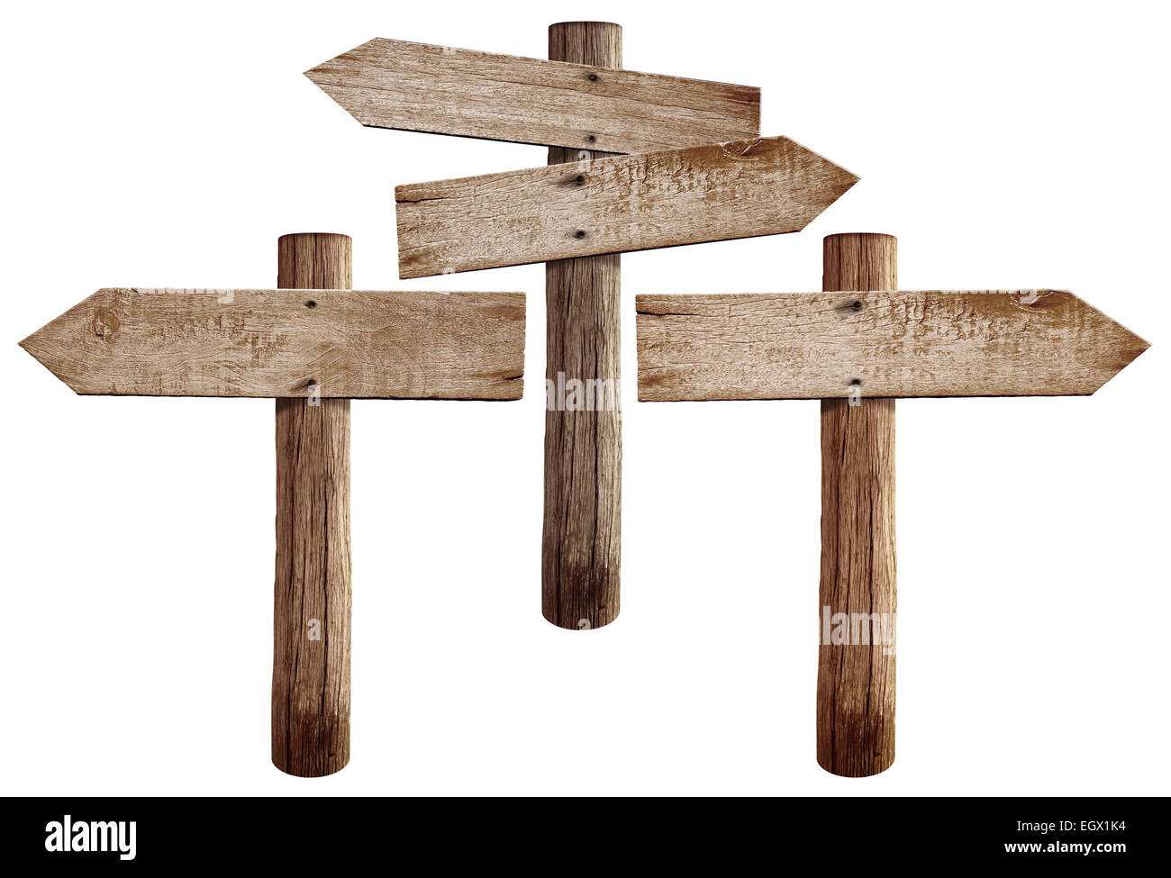 old wooden road signs right left and both arrows isolated stock