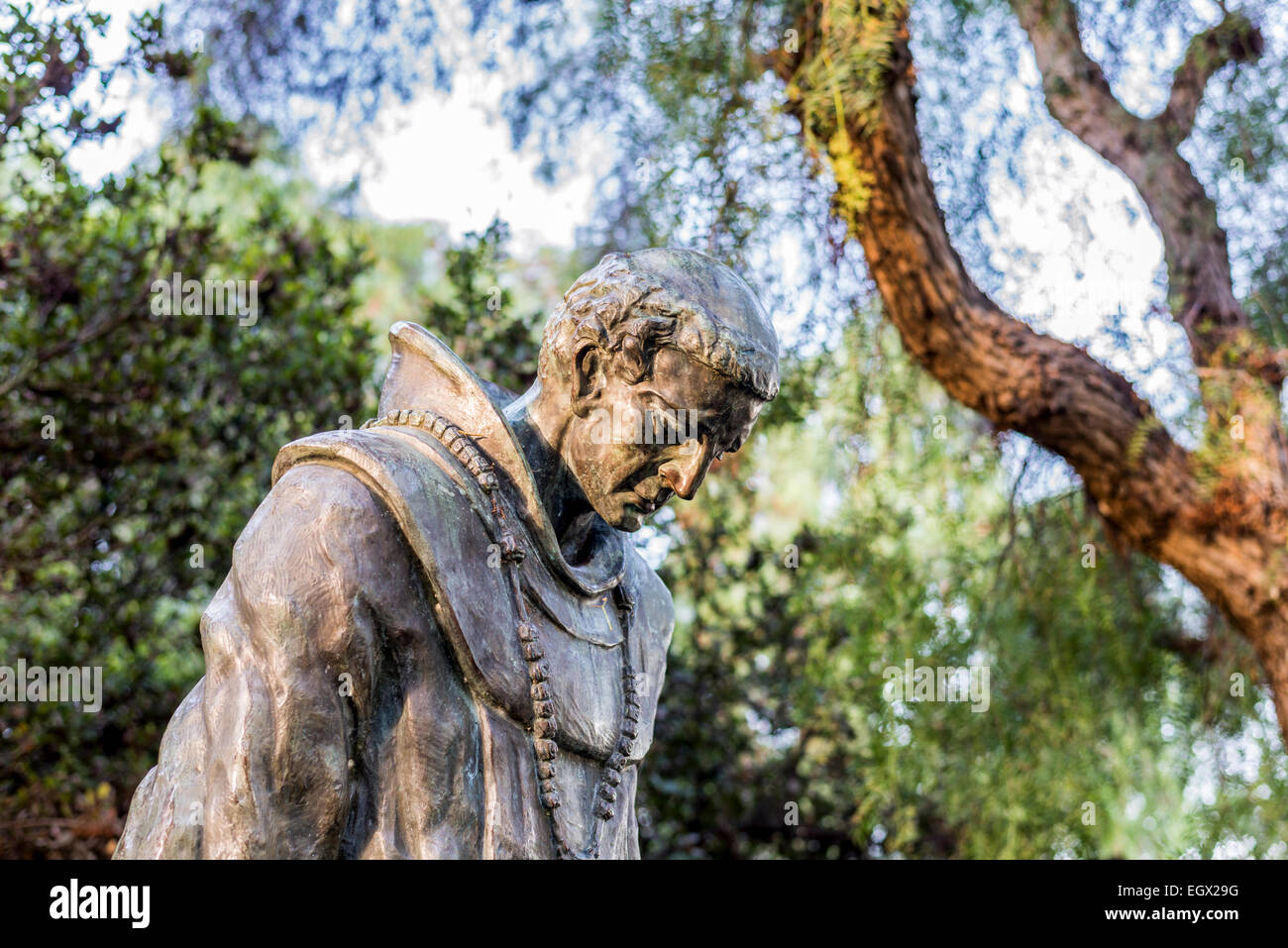 The Padre statue (by Arthur Putnam) at Presidio Park. San Diego, California, United States. - Stock Image