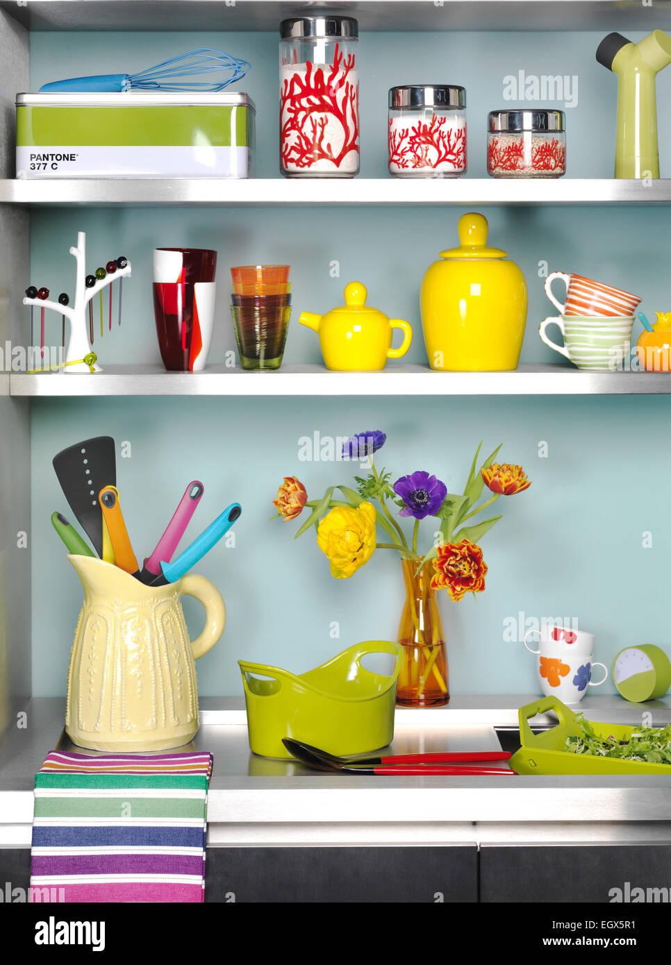 Interiors Modern Kitchens Shelving Stock Photos & Interiors Modern ...