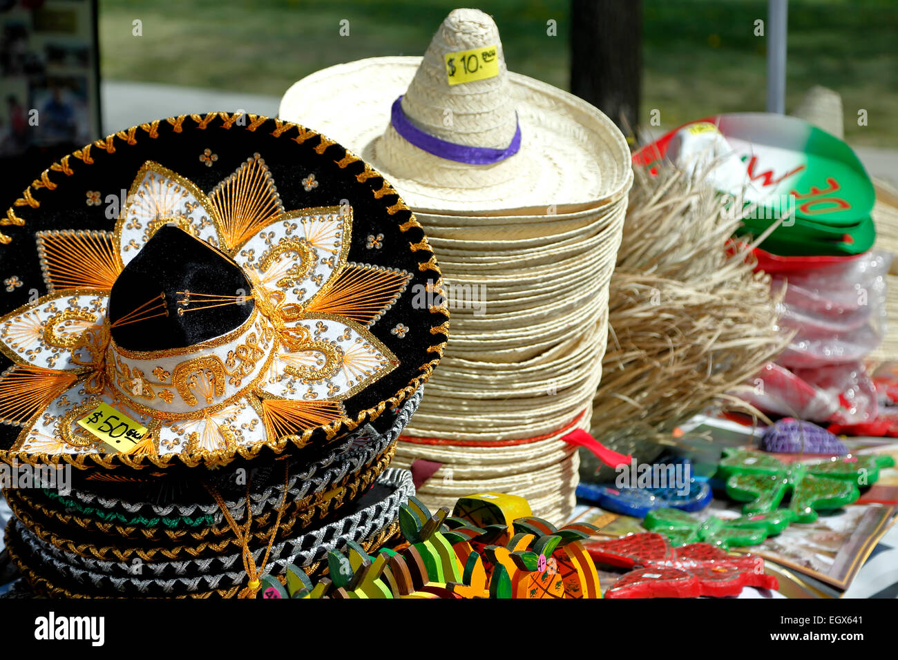 Mexican hats for sale, Cinco de Mayo Celebration, Civic Center Park, Denver, Colorado USA - Stock Image