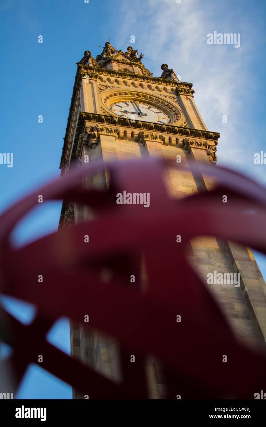 Albert Memorial Clock tower in Belfast in Northern Ireland - Stock Image
