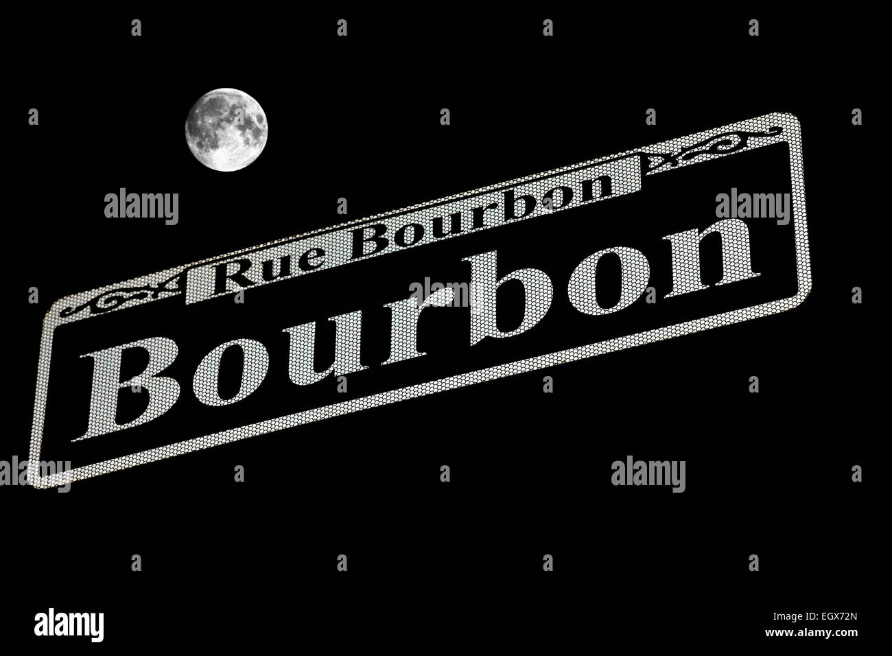 BOURBON STREET SIGN FRENCH QUARTER  DOWNTOWN NEW ORLEANS LOUISIANA USA - Stock Image
