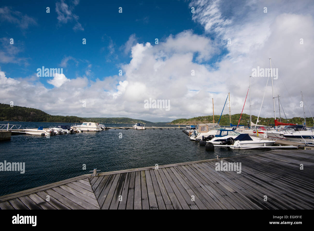 Harbour at Orust, boats, Västra Götalands län, Bohuslän, Scandinavia, Sweden Stock Photo