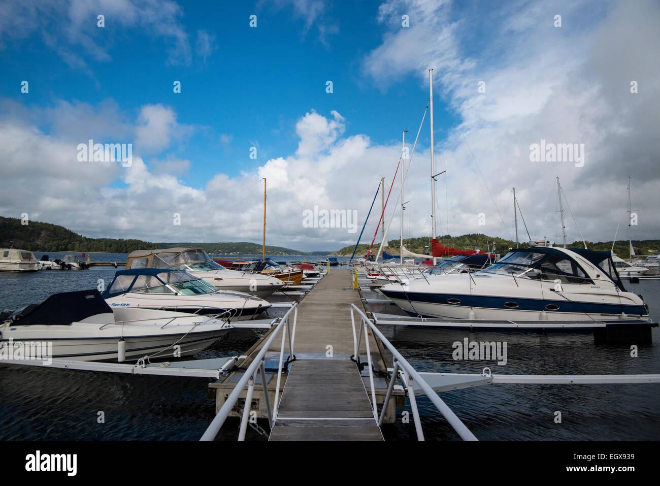 Harbour at Orust, boats, Västra Götalands län, Bohuslän, Scandinavia, Sweden - Stock Image