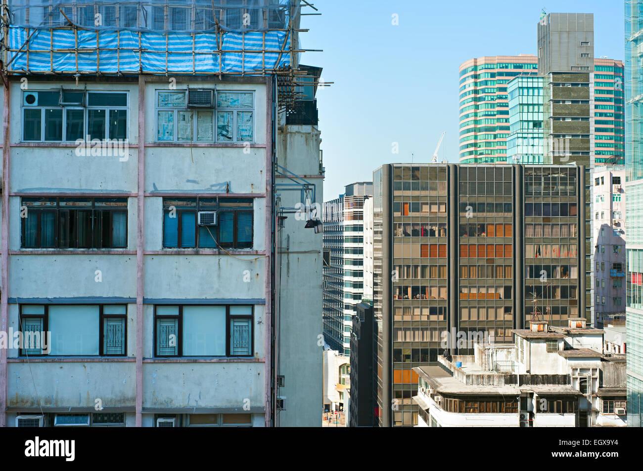 Density urban living in Kowloon island, Hong Kong - Stock Image