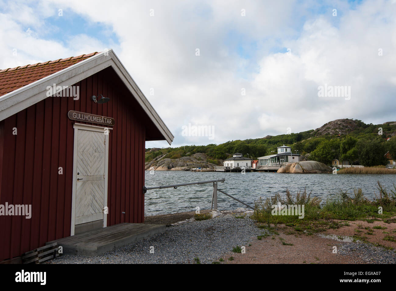 Boat house at island Orust, Västra Götalands län, Bohuslän, Västra Götalands län, - Stock Image