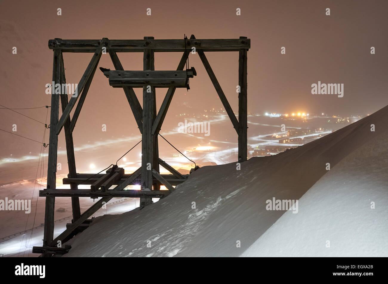The old coal mine, Gruve 2b, in Longyeabyen, Svalbard. Stock Photo