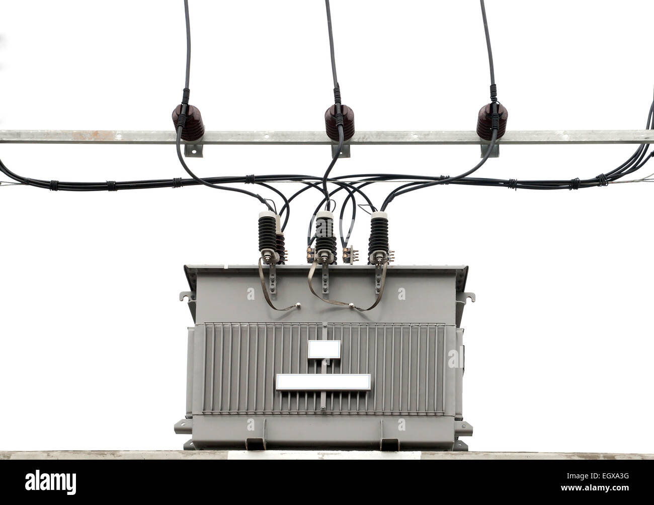 isolated electric transformer on white background Stock Photo ...
