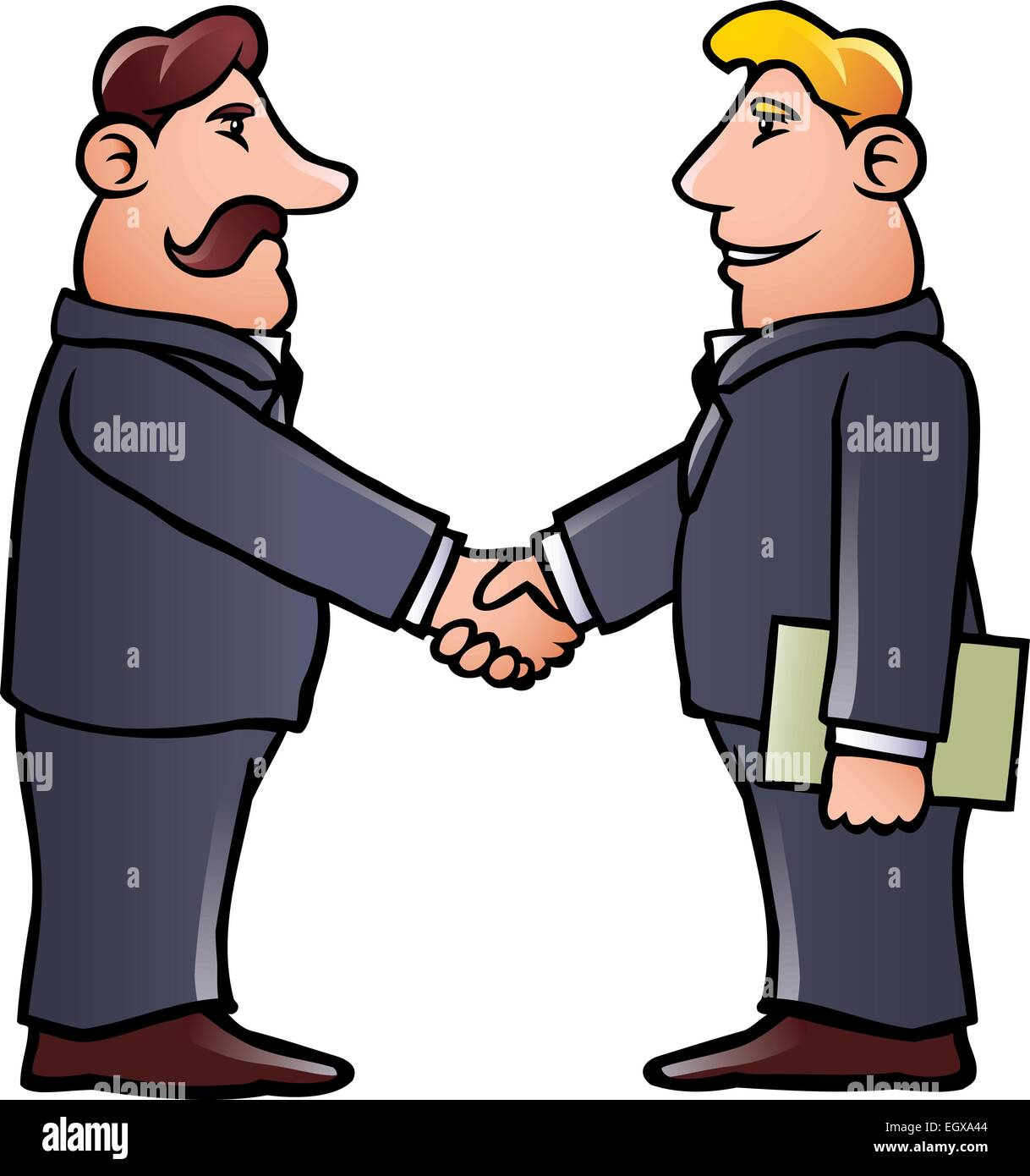 cartoon illustration of two business men shaking hands Talking Clip Art People Talking to Each Other