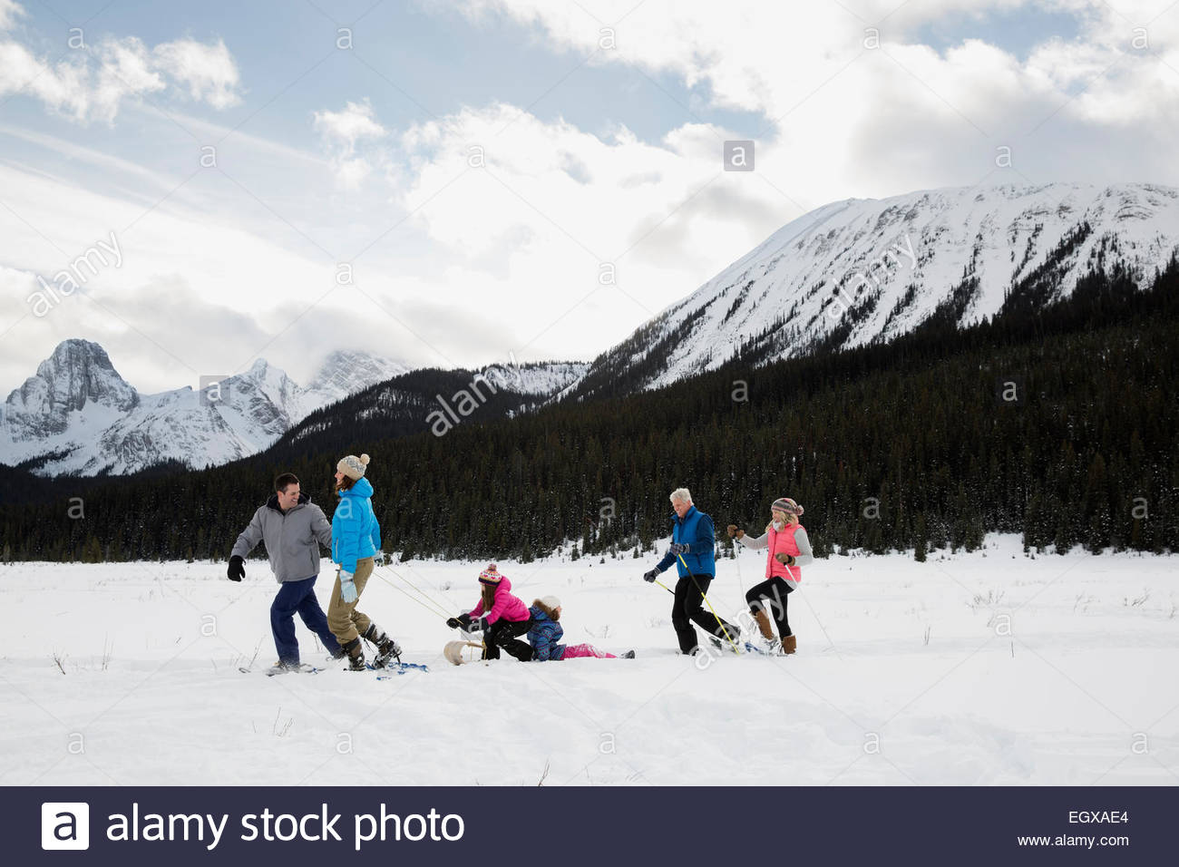 Multi-generation family sledding in field below mountains - Stock Image