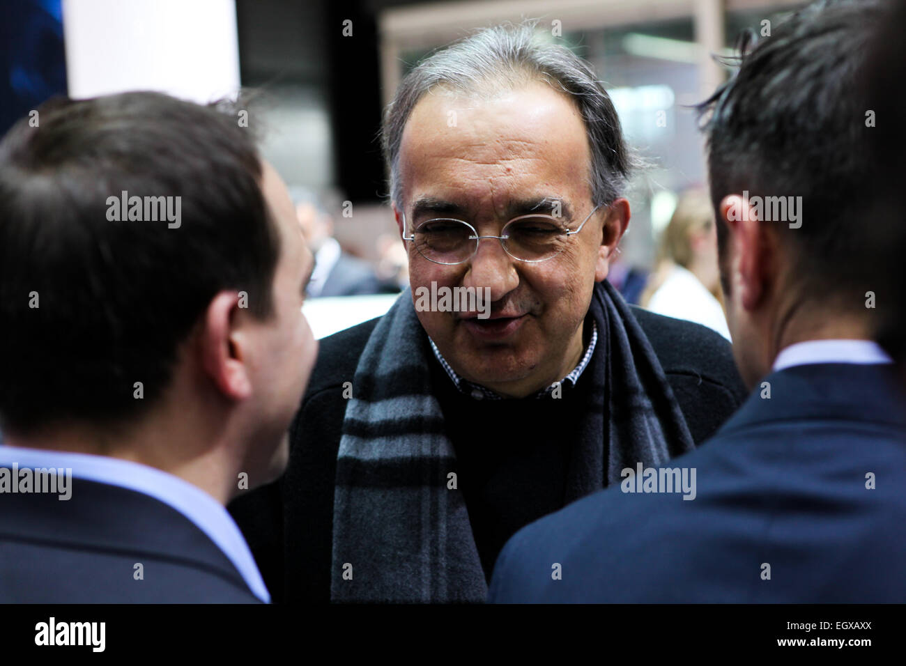 Geneva, Switzerland. 03rd Mar, 2015. FCA AD Sergio Marchionne visiting the Fiat stand at Geneve Motor Show 2015 - Stock Image