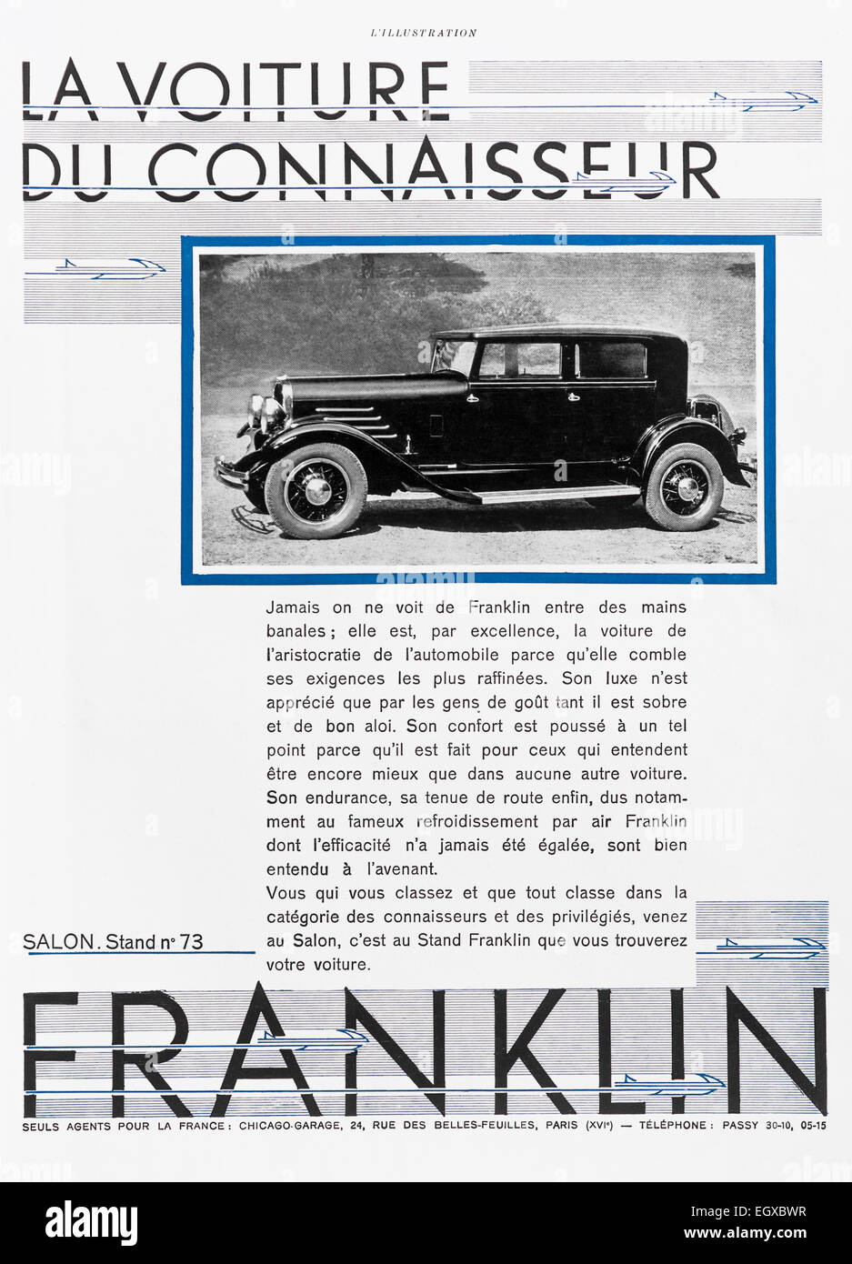 1920s Car Illustration Stock Photos 1927 Buick Wiring Diagram 1930 Advert For Franklin From French Lillustration Magazine