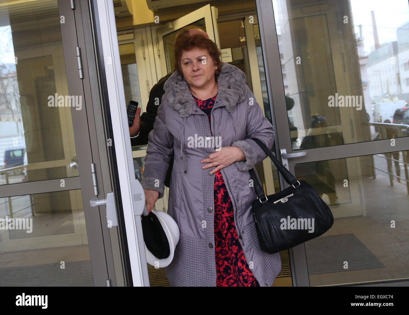 Moscow, Russia. 03rd Mar, 2015. Nadezhda Kirillova, the mother of a murdered teacher (C) at Moscow's Butyrsky District - Stock Image