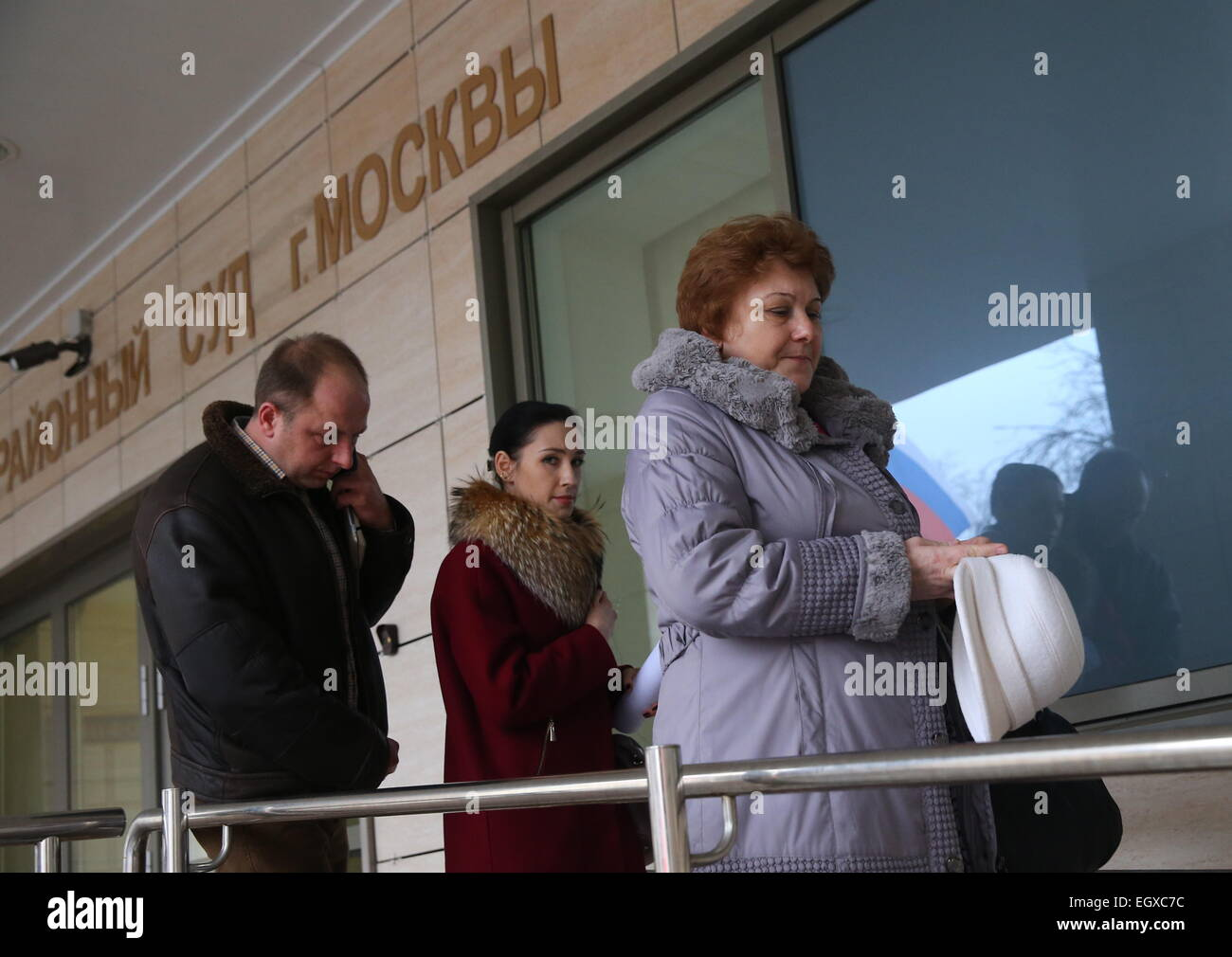Moscow, Russia. 03rd Mar, 2015. Nadezhda Kirillova, the mother of a murdered teacher (R) at Moscow's Butyrsky District - Stock Image
