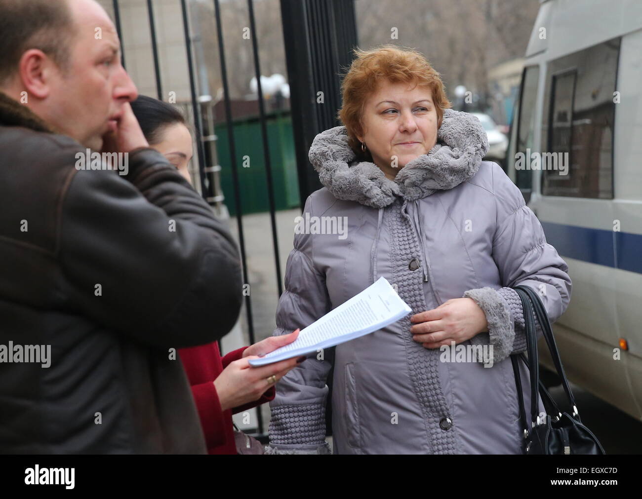 Moscow, Russia. 03rd Mar, 2015. Nadezhda Kirillova, the mother of a murdered teacher (R) at Moscow's Butyrsky - Stock Image