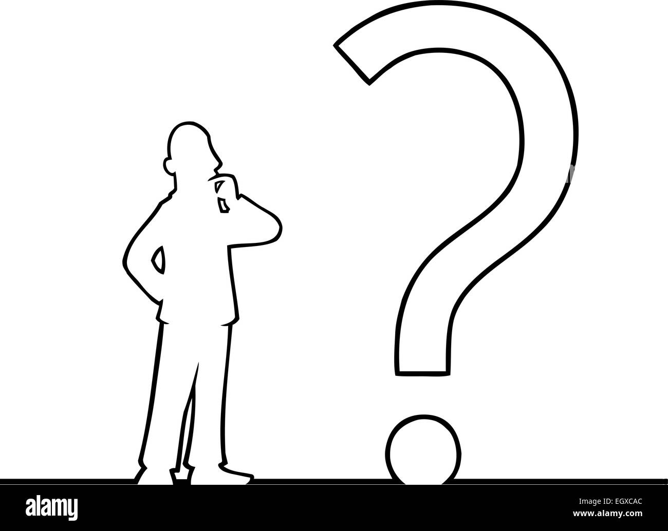 Black line art illustration of a man looking at a question mark. - Stock Image