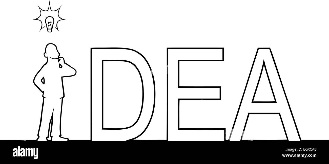 Black line art illustration of the word 'IDEA' with a man in it. - Stock Vector