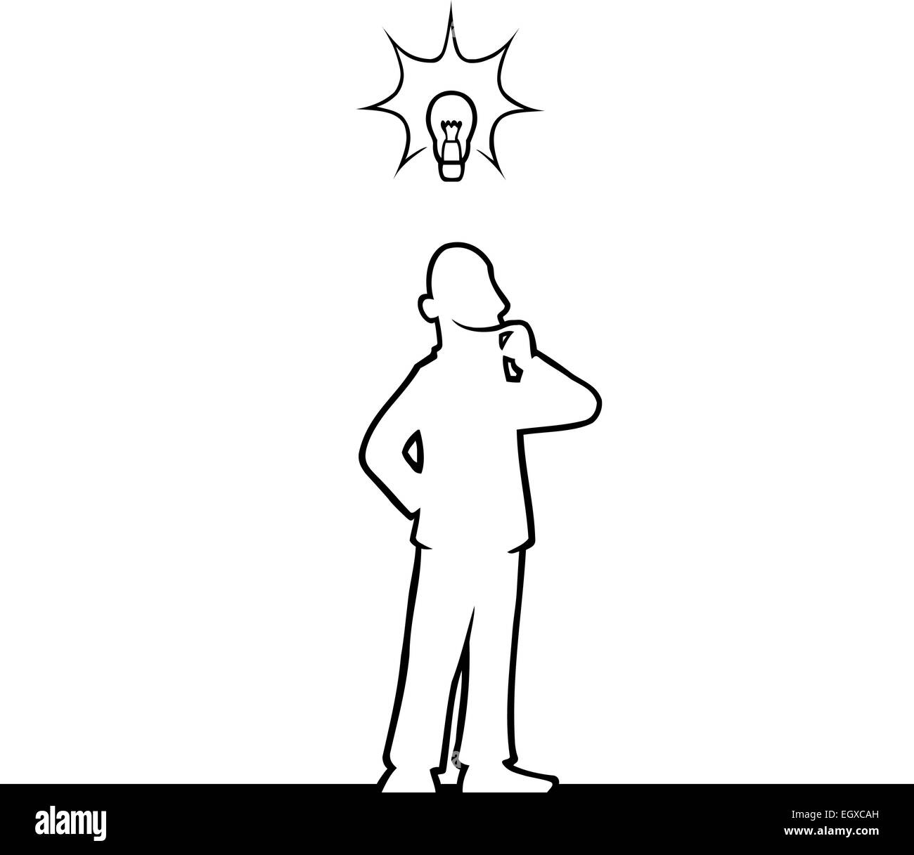 Black line art illustration of a man with a lightbulb above his head. - Stock Vector