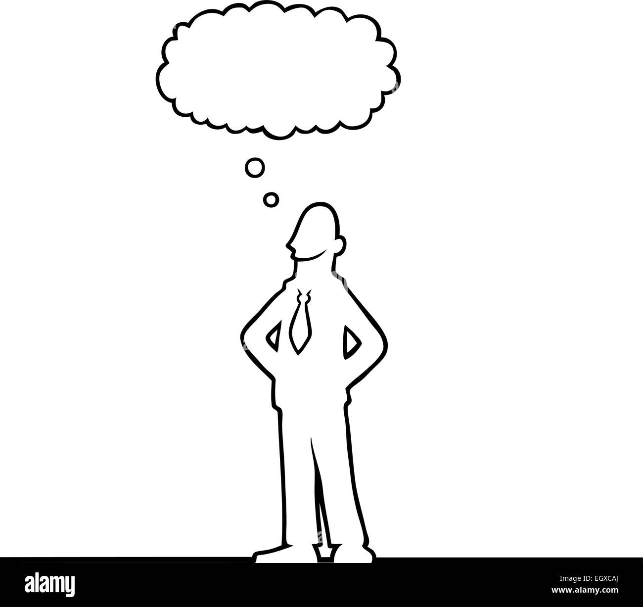 Black line art of a business man thinking of something - Stock Vector
