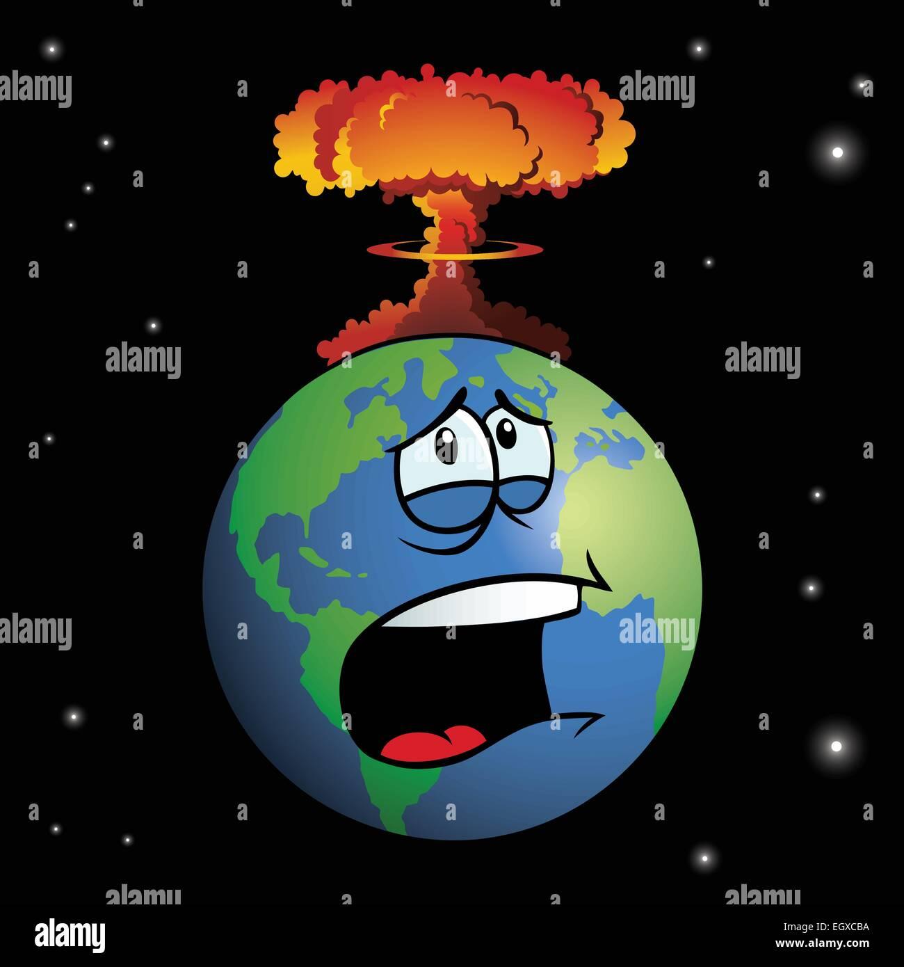 A nuclear weapon exploding on cartoon Earth, forming a mushroom cloud. - Stock Vector