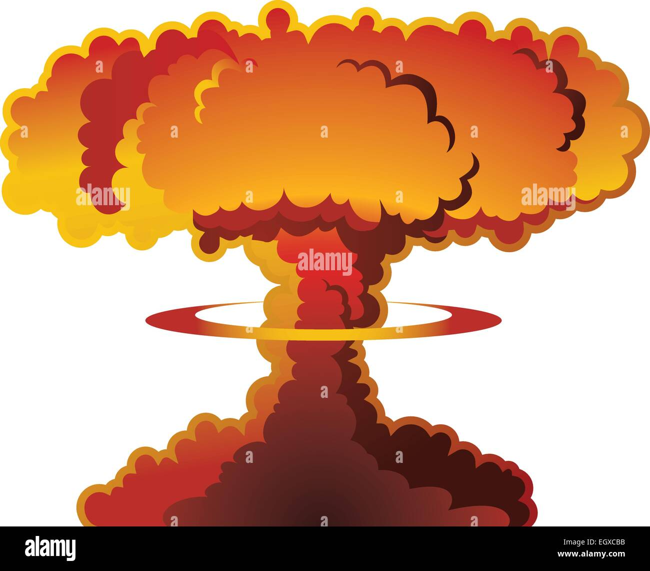 A nuclear weapon exploding, forming a mushroom cloud. - Stock Vector
