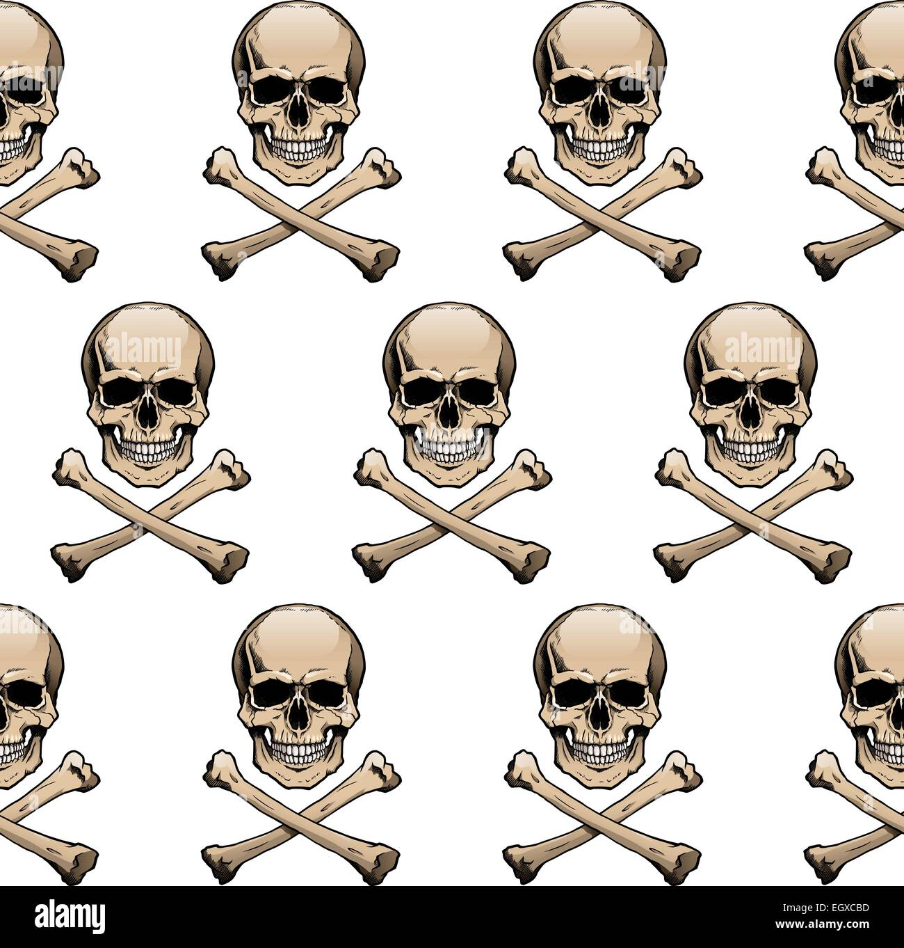 Seamless Wallpaper Background With Colored Skulls And Crossbones