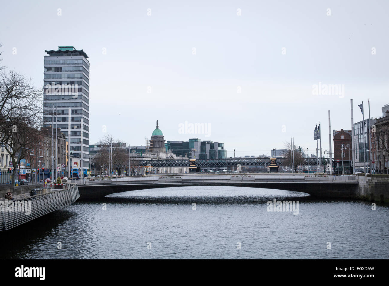 View from Dublin's O'Connell's Bridge looking at the new Rosie Hackett Bridge on a Sunday Morning in - Stock Image