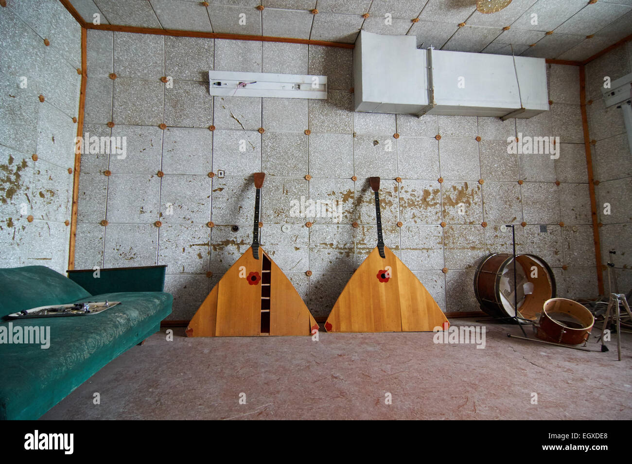 From the Russian settlement Pyramiden, Svalbard. Abandoned in 1998. - Stock Image