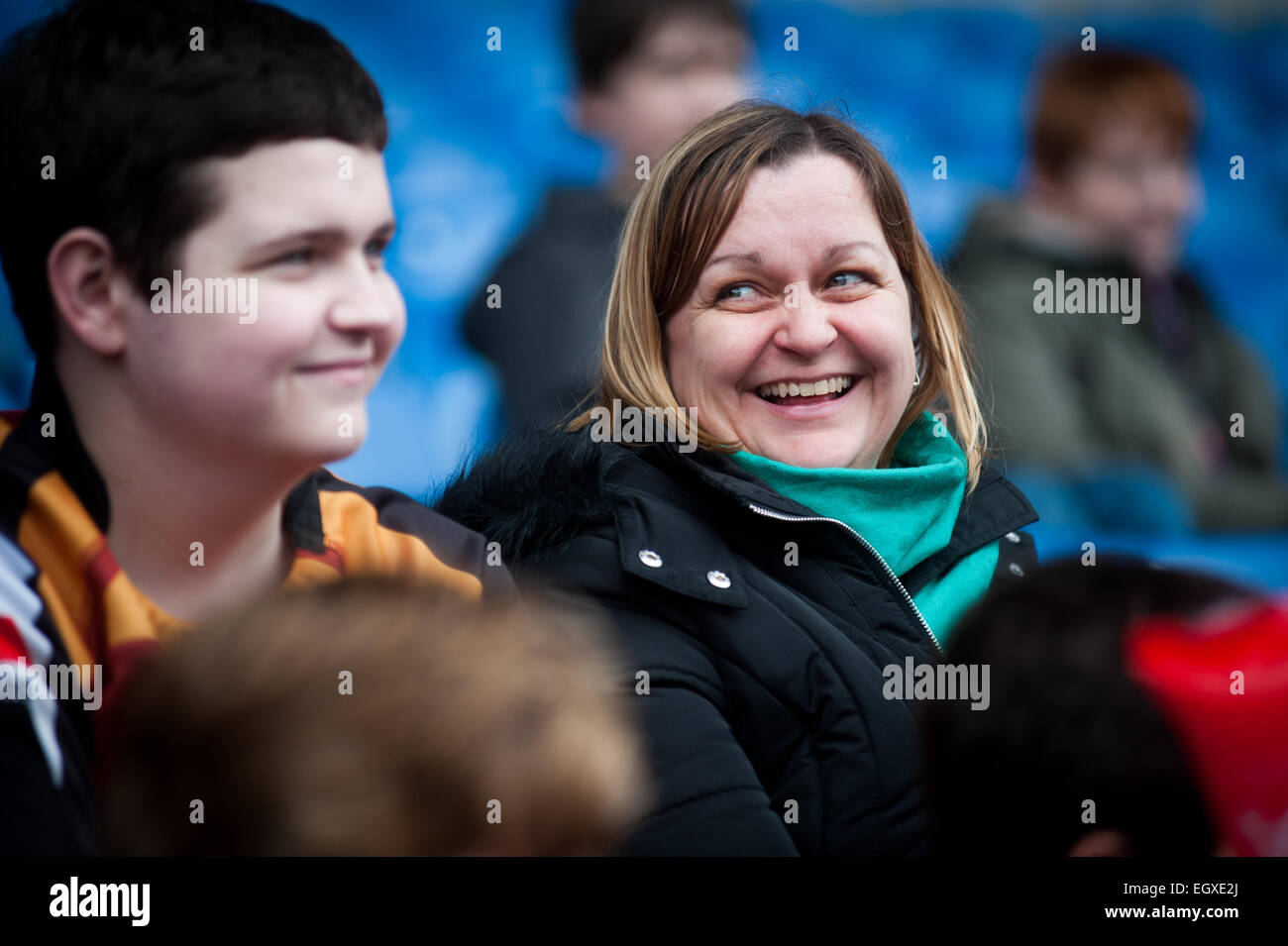 family at London Welsh v London Irish Aviva Premiership Rugby match on St Davids Day (1 March 2015) - Stock Image