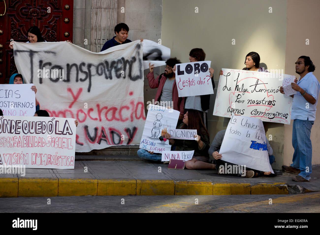 University student demonstration, Merida, Yucatan, Mexico - Stock Image