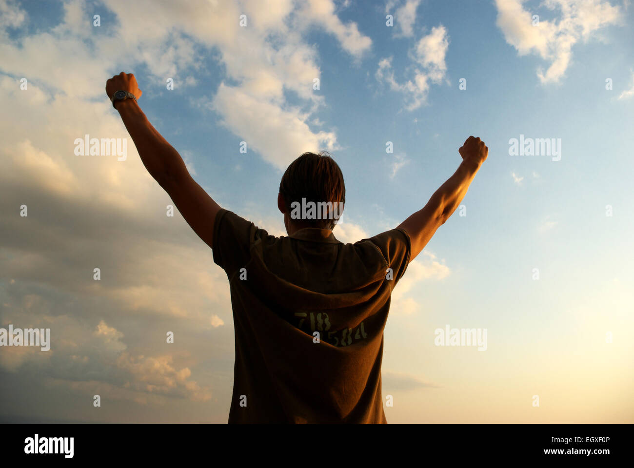Man on the sky background. Concept design. - Stock Image