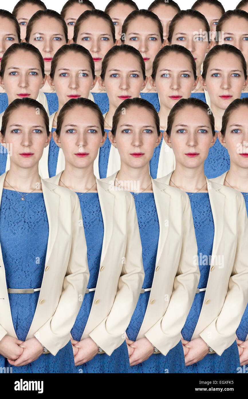 Group of identical business women wearing blue dress and yellow jacket - Stock Image