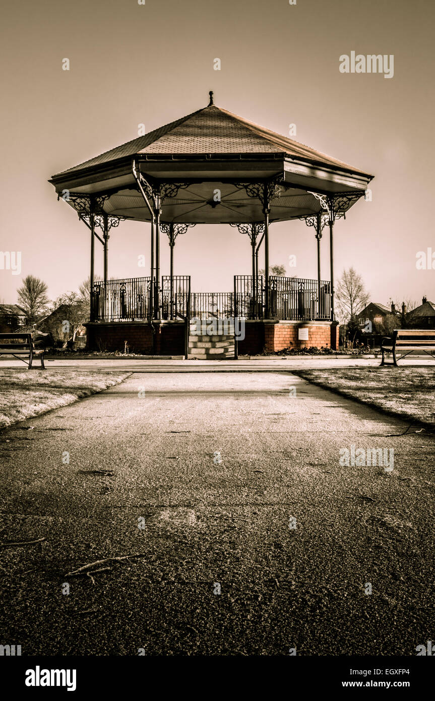 A bandstand in a park on a frosty morning - Stock Image