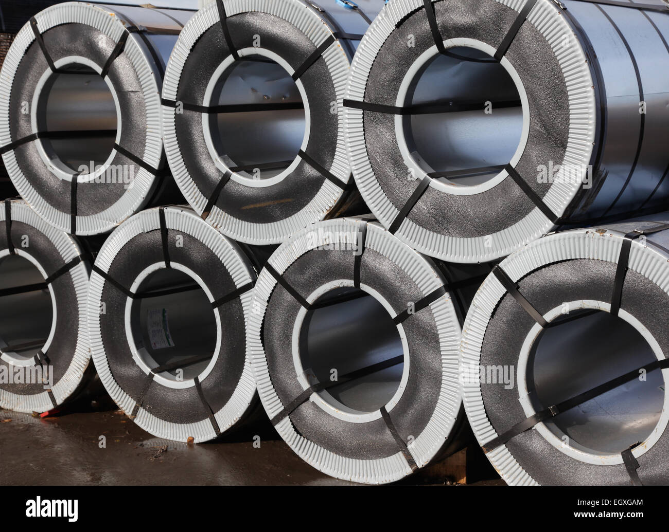 rolled galvanized steel with polymer coating - Stock Image