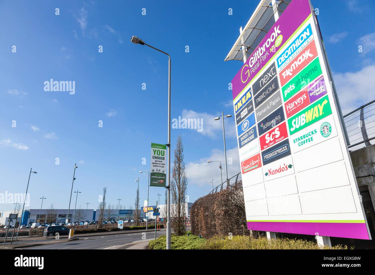 Giltbrook Retail Park, Nottinghamshire, England, UK - Stock Image