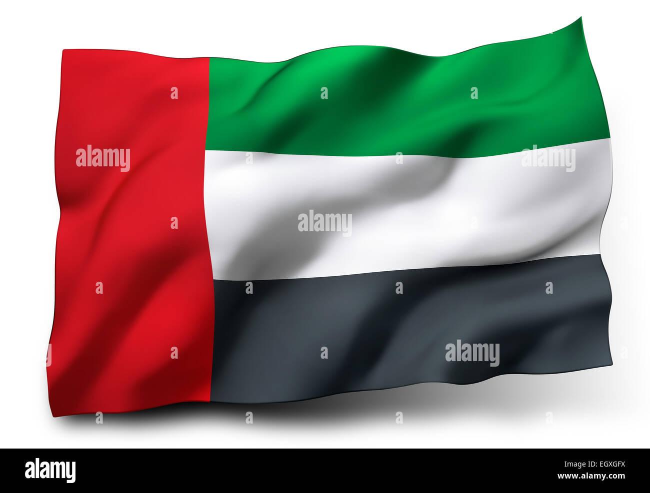 Waving flag of United Arab Emirates isolated on white background - Stock Image