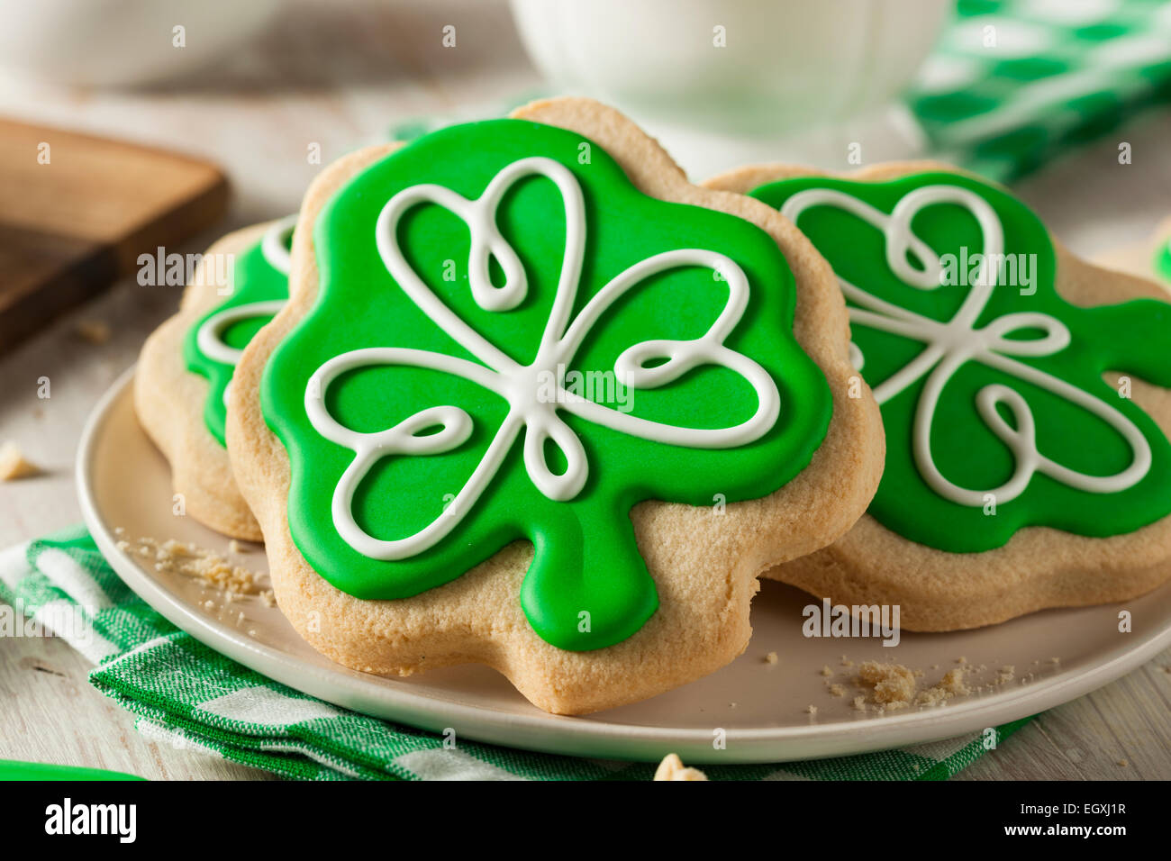 Green Clover St Patricks Day Cookies Ready to Eat - Stock Image