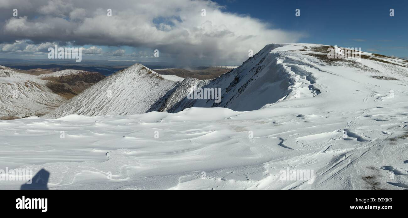 Helvellyn Winter. Cornice on Helvellyn and Swirral Edge English lake district - Stock Image