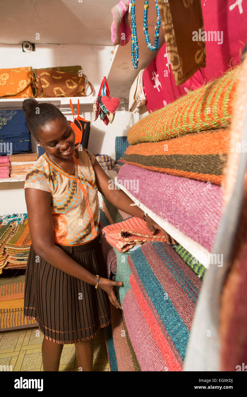 Sisal rugs and handmade crafts on display in a handicraft workshop and retail store in Dar es Salaam, Tanazania, - Stock Image