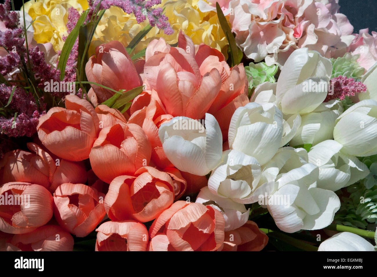 Fake tulips stock photos fake tulips stock images alamy fake spring flowers in a shop window in hayes valley san francisco california mightylinksfo