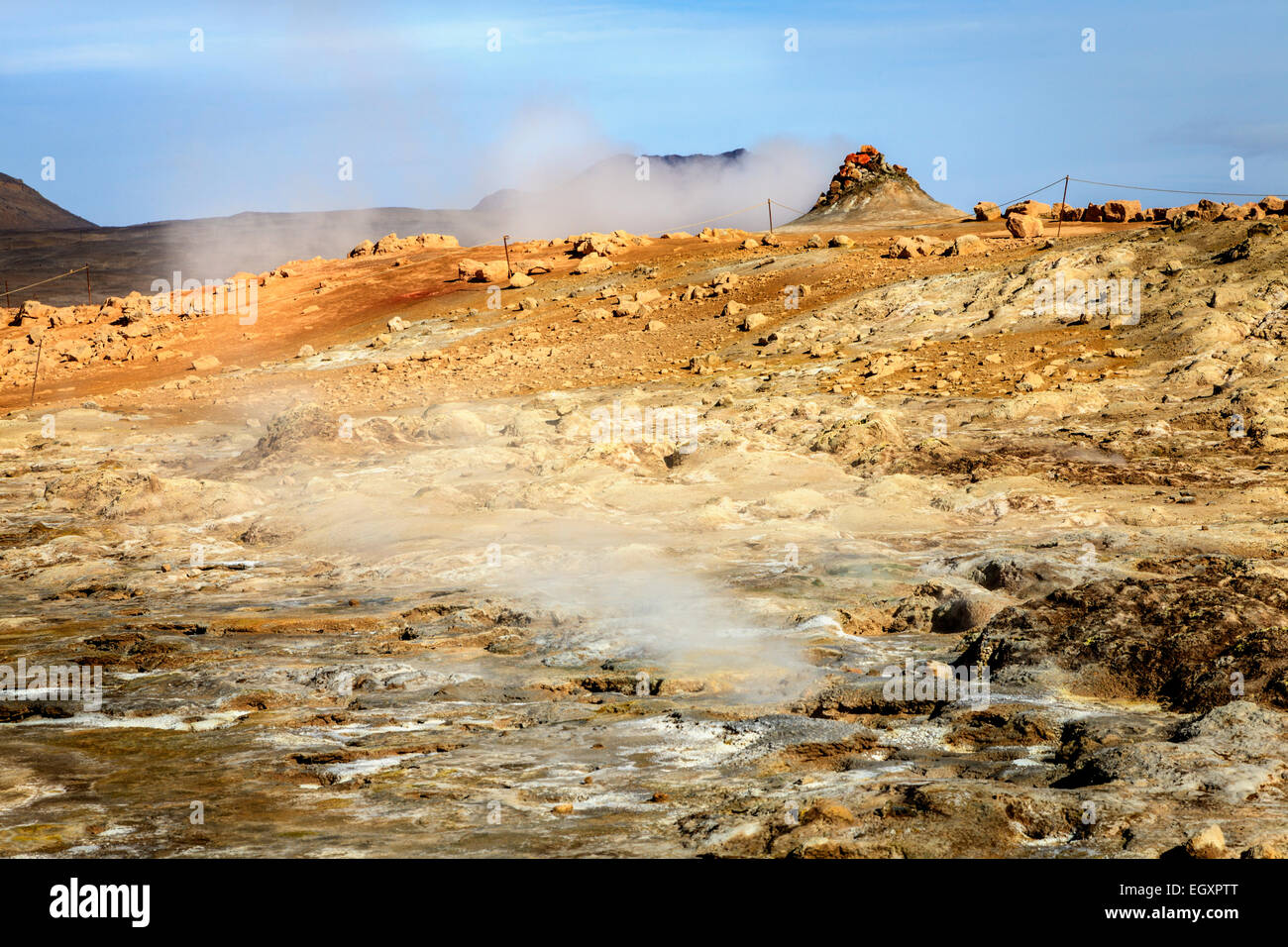 Steam vents in Hverir - geothermal field in Northern Iceland - Stock Image
