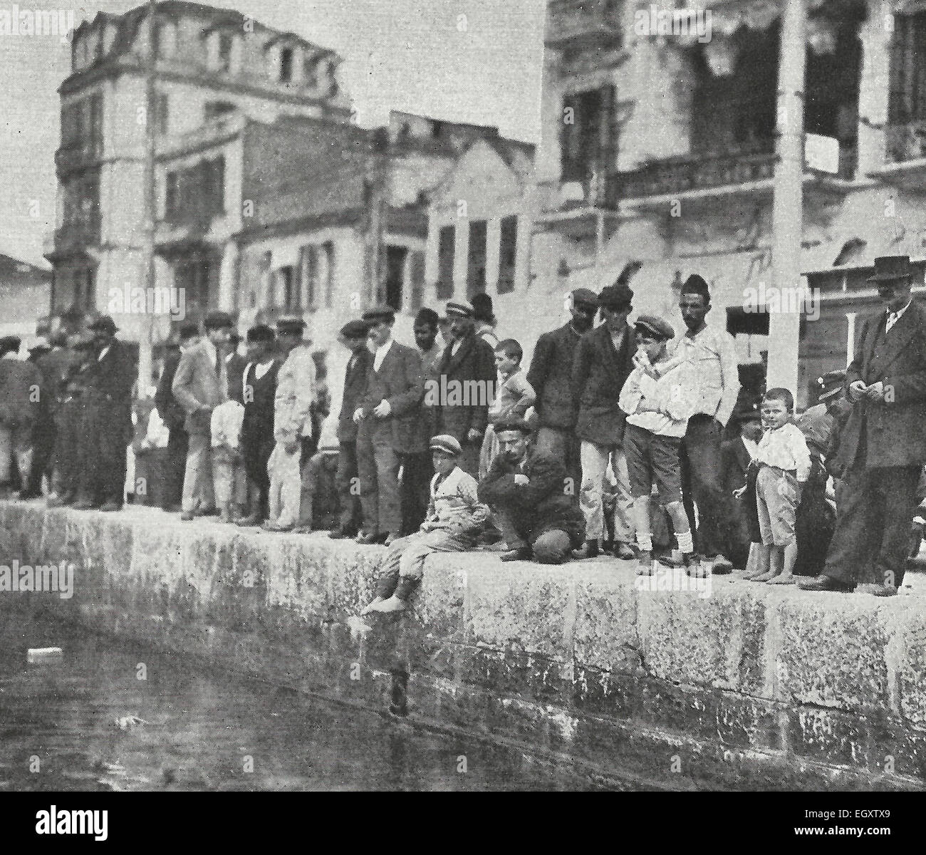 The Quay from which spies watched the Allies disembark - Salonika, Greece WWI, circa 1916 - Stock Image