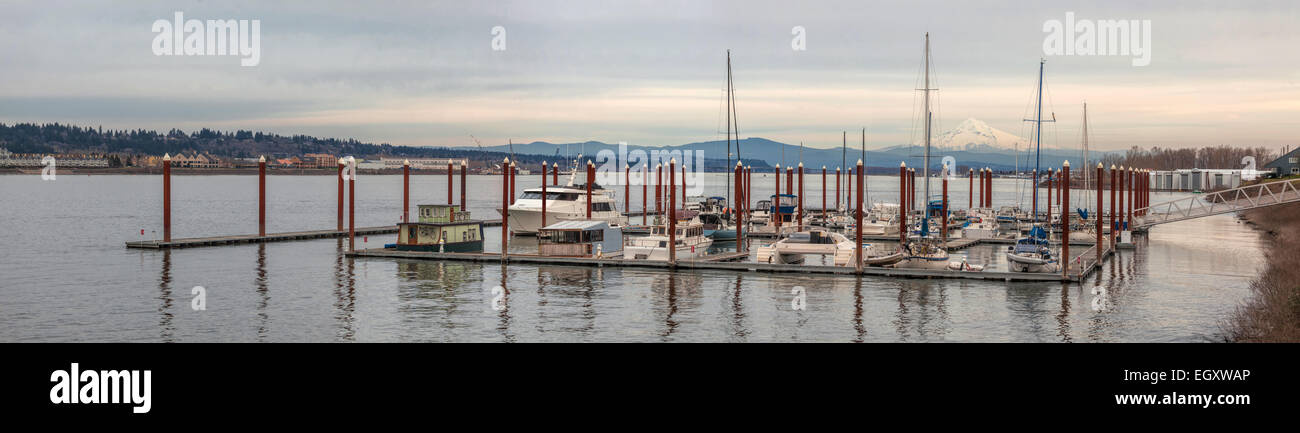 Marina on Columbia River with Mount Hood View and Waterfront